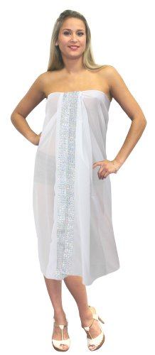 La Leela Sheer White Designer Sequin Embroidered Chiffon Beach Swim Hawaiian Sarong Pareo
