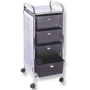 pibbs d27 4 drawer rolling cart with metal sides beauty. Black Bedroom Furniture Sets. Home Design Ideas