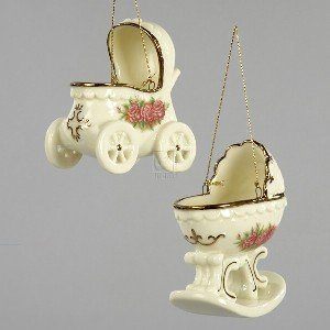 VINTAGE ROSE BABY CARRIAGE ORNAMENT - 3-3 5