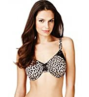 Underwired Animal Flock Print Minimiser C-G Bra