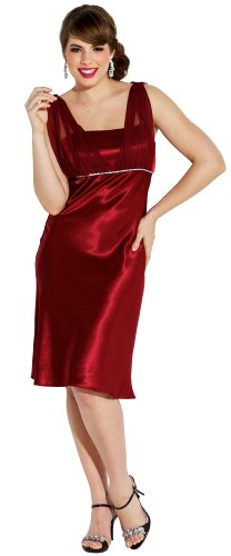 Satin Chiffon Prom Dress Holiday Formal Gown Bridesmaid Crystals Knee-Length Junior Plus Size