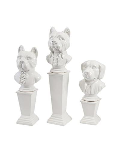 Set of Three Montclair Ceramic Dog Statues