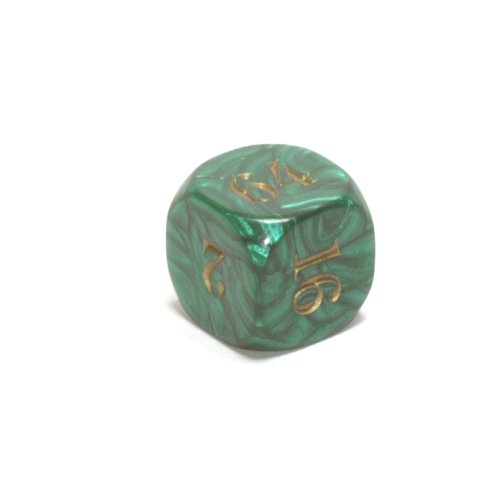 22mm (7/8) Backgammon Doubling Cube, Green with Gold by Koplow Games