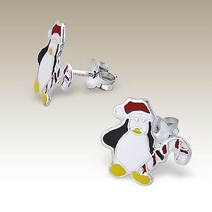 Adorable Christmas PENGUIN Sterling Silver Childrens Earrings Post/stud