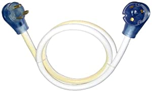 Conntek RV 30 Amp Extension Cable Cord with Glowing Strip (White, 25-Feet)