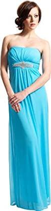 Goddess Empire Strapless Chiffon Gown wRhinestone Accent