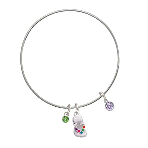 Cz Round - 4Mm Purple - Lime Green Crystal And Flip Flop Charm Bangle Bracelet
