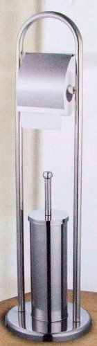 Stainless Steel Toilet Stand Set with Brush, Holder and Roll Holder