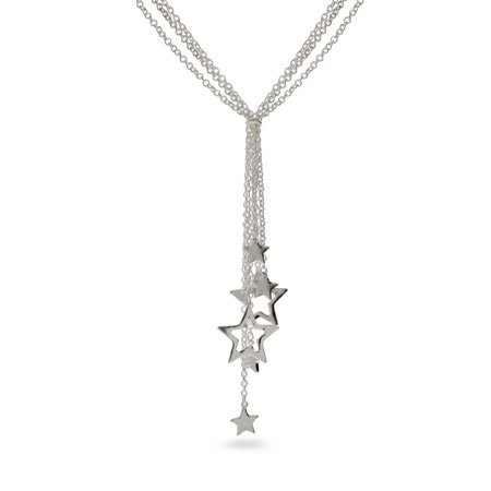 Sterling Silver Multi Strand Star Drop Necklace