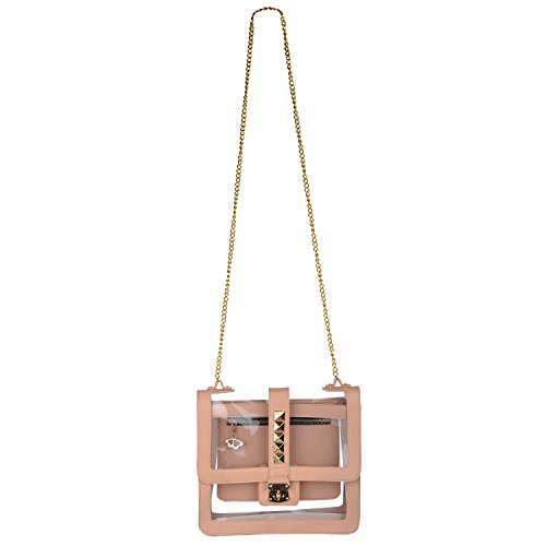 2AM Beige Stud See Through Women's Sling Bag (Nude And Transparent)(Sku00Slbs)