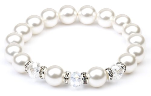 Crystal White Swarovski Elements Pearl & Crystal Bead Bracelet - Childs size