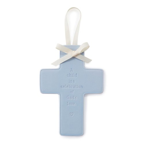 Hallmark Baby Hanging Ceramic Blue Keepsake Cross - 1