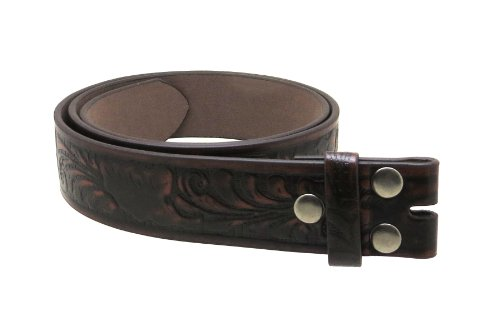 "Leather Belt Strap With Embossed Western Scrollwork 1.5"" Wide With Snaps (Brown-S)"