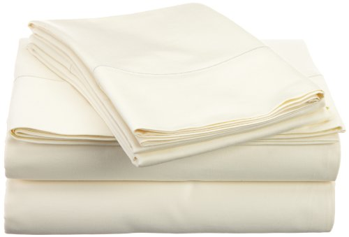 Hn International Group Perthshire 1000 Thread Count Solid Sheet Set With Single Embroidered Marrow On The Flat Sheet And Pillow Cases, King Size, Ivory