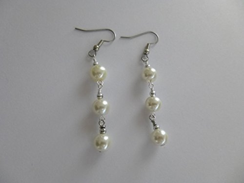 White Linked Pearl Earrings - Silver