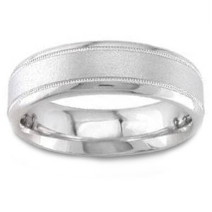 Women's 14k White Gold Classic Sandblasted Comfort-Fit Wedding Band (6.50 mm)
