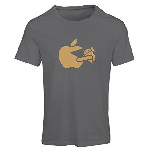 N4212F T-shirt female Funny Apple eating a robot gift t-shirt (Medium Graphite Gold)