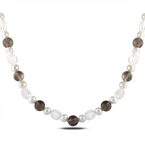 Sterling Silver White Quartz and Grey Agate Freshwater White Pearls Necklace (18 in)