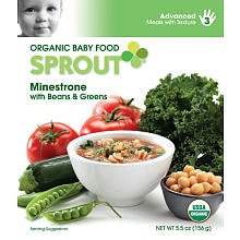 Sprout Organic Baby Food: 3 Advanced: Meals with Texture, Minestrone with Beans & Greens, 5.5 oz