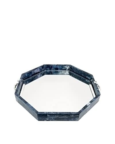 Couture Malibu Lapis Octagonal Mirror Tray, Malibu Blue/Nickel