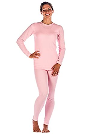 Womens Extreme Cold Waffle Knit Thermal Top and Bottom Set - Pink -X-Large
