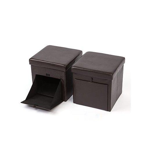 2er-Set-Sitzhocker-mit-Stauraum-Faltbar-Belastbar-bis-150kg-5-Farben-whlbar-Leder-und-Raulederoptik-Braun-Lederoptik