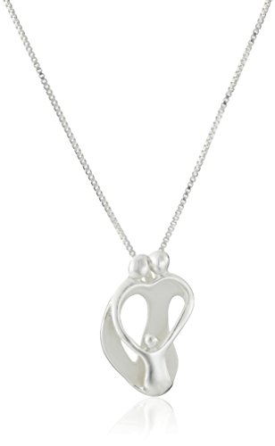 "Sterling Silver ""Loving Family"" Parents with One Child Pendant Necklace, 18"""