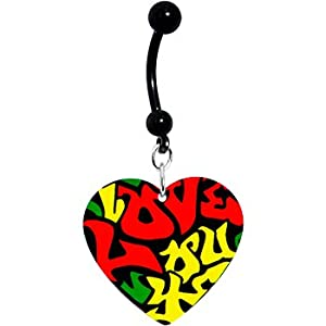 Amazon.com: Yellow Green Red Love You Graffiti Heart Belly Ring ...