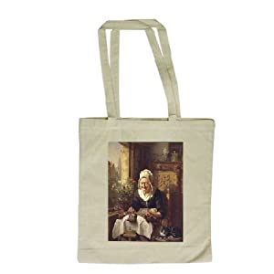 The Old Lacemaker, 1844 (panel) by J.L... - Long Handled Shopping Bag