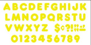 Yellow 4-inch Casual Uppercase Ready Letters - 1