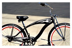 Steel Frame, Micargi Falcon GTS - Matte Black w/ Red Rims, 1-speed Beach Cruiser Bike Bicycle Schwinn Nirve Firmstrong Style