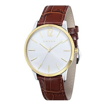 Men's Designer Watch with Round Dial and Brown Leather Strap