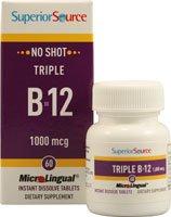 Superior Source No Shot Triple B12 Multivitamin, 1000 Mcg, 60 Count