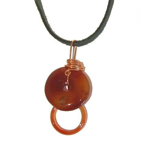 Carnelian Necklace 07 Pendant Orange Donut Ring Green Suede Leather Copper Crystal Healing Gemstone 23