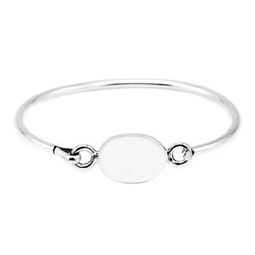 Silver Engravable Oval Bangle Bracelet for Infant or Toddler