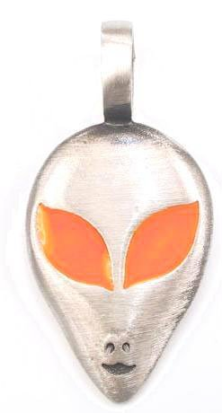Neon Orange Eyes Alien Pewter Pendant Necklace