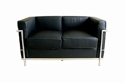 Wholesale Interiors 610-Loveseat-Black Le Corbusier Petite Loveseat in Black,