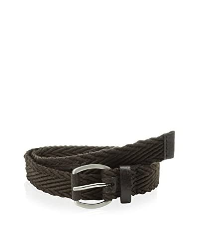 Ben Sherman Men's Leather Belt with Herringbone Webbing