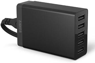 Chargeur Secteur 40W 5 Ports USB Anker muni de la Technologie PowerIQ - Chargeur Mural avec Câble d'Alimentation d'1.5 mètres pour smartphones Apple & Android, Tablettes et autres appareils se chargeant via USB 5V