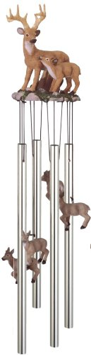 Wind Chime Round Top Deer With Fawn Baby Garden Decoration Windchime