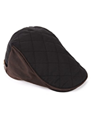 Pure Cotton Waxed Quilted Flat Cap