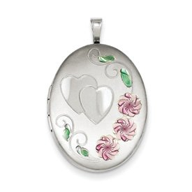 Genuine IceCarats Designer Jewelry Gift Sterling Silver 26Mm Enameled, D/C Floral & Heart Oval Locket