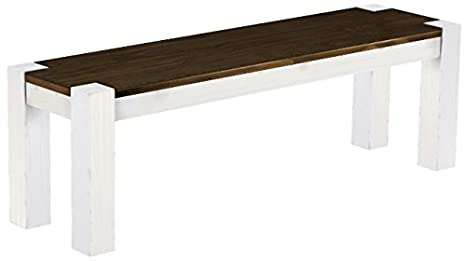 Brasil 'Rio Kanto' Furniture Bench in Various Sizes and Colours, Pine, Eiche antik - Weiß, L/B/H: 180 x 38 x 44 cm