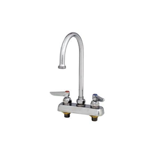 T&S Brass B-1141-XS Deck Mount Workboard Faucet with 4-Inch Centers, Swivel Gooseneck, Lever Handles and 2-Inch Shanks