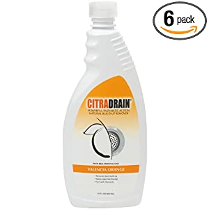 Citra Drain Natural Build-up Remover, Valencia Orange, 22-Ounce Bottles (Pack of 6)