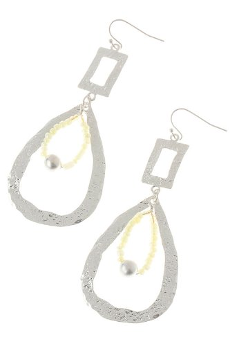 The Jewel Rack Metal Cut Out Droplet Earrings (Silver/Yellow) front-199784
