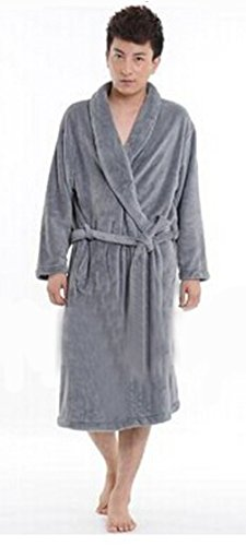 The United States Popular Men's Coral Velvet Fabric Thick Robe Pajamas Bathrobe-Grey