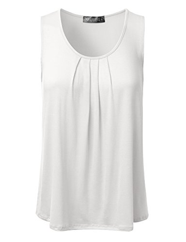DRESSIS Women's Basic Soft Pleated Scoop Neck Sleeveless Loose Fit Tank Top IVORY L