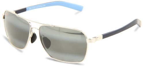 Maui Jim Freight Trains 326-02 Polarized Rectangular Aviator Sunglasses,Gloss Black Frame/Neutral Grey Lens,One Size