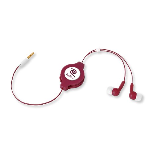 Retrak Retractable Stereo Earphones, Maroon And Red (Etaudioagg)